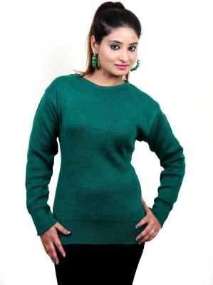 Laadli Ji Self Design Round Neck Women,s Green Sweater