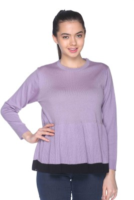 CLUB YORK Self Design Round Neck Casual Women's Purple Sweater