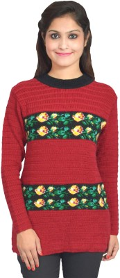 eWools Floral Print Round Neck Party Women's Maroon Sweater