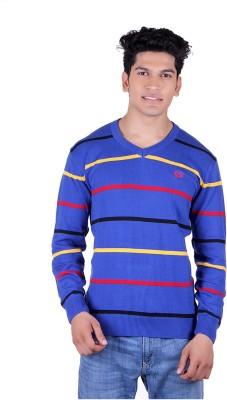 Ogarti Solid, Striped V-neck Casual Men,s Dark Blue, Red Sweater