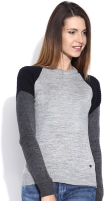 Mast & Harbour Solid Round Neck Casual Women,s Grey Sweater