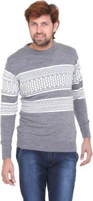 CLUB YORK Printed Round Neck Casual Men's Grey Sweater