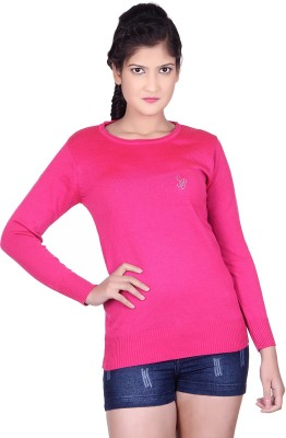 Spink Solid Round Neck Casual Women's Pink Sweater