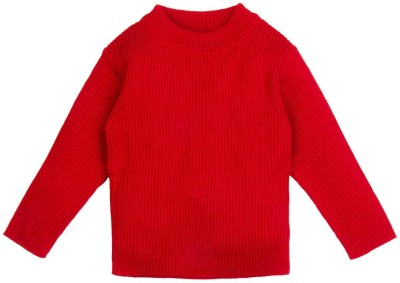 Mom & Me Solid Round Neck Casual Girl's Red Sweater