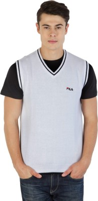 Fila Printed V-neck Sports Men's White, Black Sweater