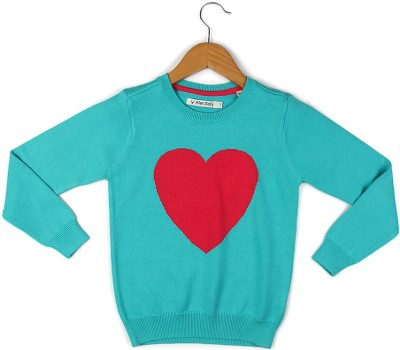 Allen Solly Woven Round Neck Casual Girl's Blue Sweater