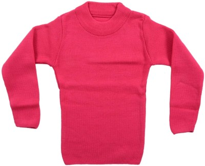 AKHIL & AARNA Solid Round Neck Baby Boy's Pink Sweater