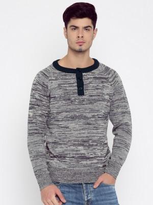 Roadster Self Design Round Neck Casual Men Grey, Dark Blue Sweater