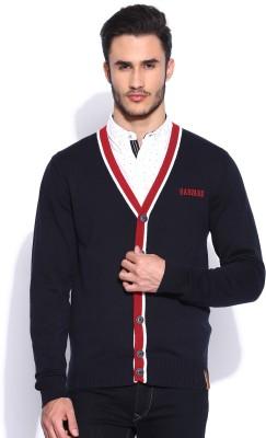 Harvard Solid V-neck Casual Men's Dark Blue Sweater