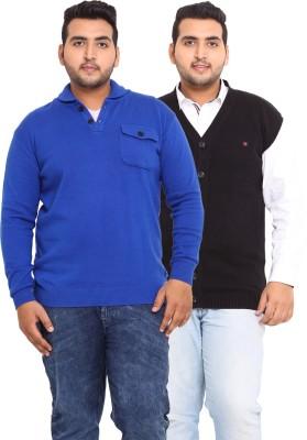 John Pride Solid V-neck Casual Men's Blue, Black Sweater