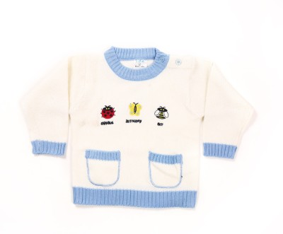 Zonko Style Self Design Round Neck Casual Boy's White Sweater