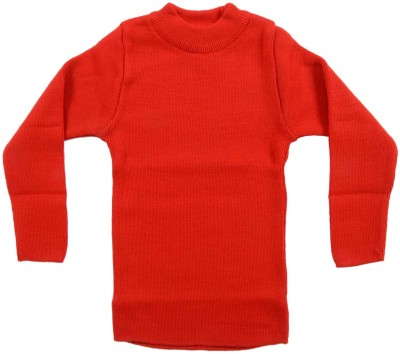 AKHIL & AARNA Solid Round Neck Baby Boy's Red Sweater