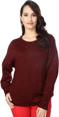 Van Heusen Woven Round Neck Women's Maroon Sweater