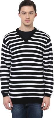 Yepme Striped V-neck Casual Men,s Black, White Sweater