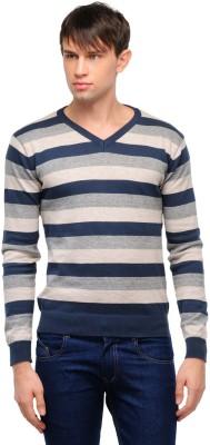 Yepme Striped V-neck Casual Men,s Blue, Beige Sweater