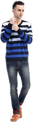CLUB AVIS USA Striped V-neck Casual Men's Blue Sweater
