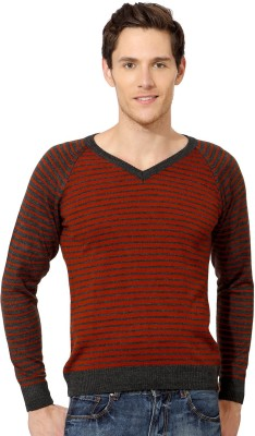 Peter England Striped V-neck Casual Men's Red Sweater