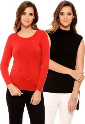 MSMB Solid Round Neck Women's Black, Red Sweater