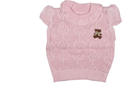 Camey Self Design Round Neck Casual Baby Girls Pink Sweater