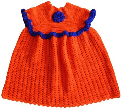 MFJKrafts Woven Round Neck Party Girl's Orange Sweater