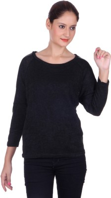 CHKOKKO Solid Round Neck Casual Women's Black Sweater