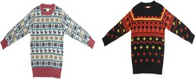 Crazeis Printed Round Neck Casual Boys Red, Black Sweater