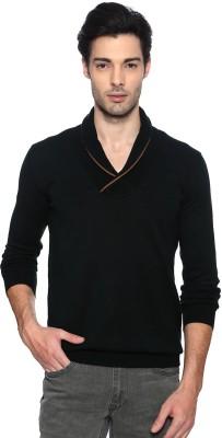 Van Heusen Solid V-neck Casual Men's Green Sweater