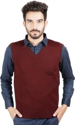 Numero Uno Solid V-neck Casual Men's Maroon Sweater