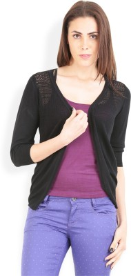 Lee Solid Round Neck Casual Women's Black Sweater