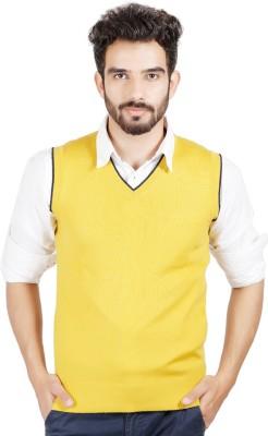 Numero Uno Solid V-neck Casual Men's Yellow Sweater