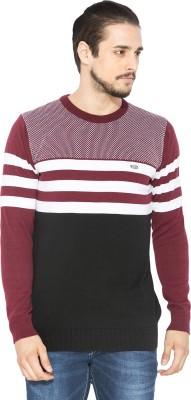 Status Quo Striped Round Neck Casual Men's Maroon Sweater