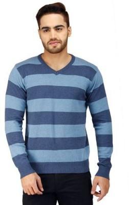 Prakum Striped V-neck Casual Men's Blue Sweater