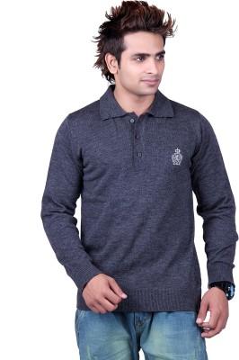Vivid Bharti Solid V-neck Casual Men's Grey Sweater