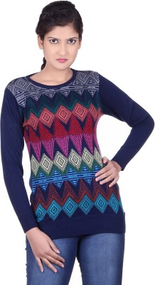 Spink Self Design Round Neck Casual Women's Purple Sweater