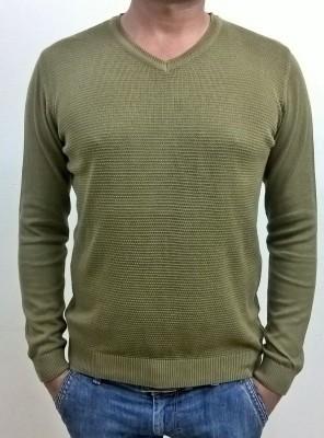 Locus Classicus Solid V-neck Men's Green Sweater