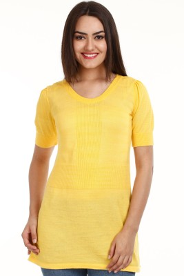 Mustard Solid Round Neck Casual Women's Yellow Sweater