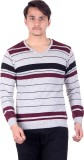 Numalo Striped V-neck Casual Men Grey, P...