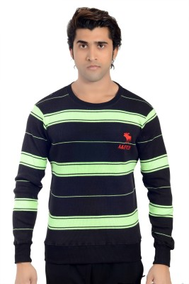 Parv Collections Striped Round Neck Casual Men's Black Sweater