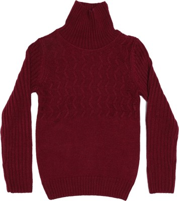 Elle Self Design Round Neck Casual Girl's Maroon Sweater