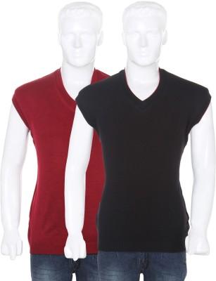 Vivek Solid V-neck Casual Men's Reversible Red, Black Sweater