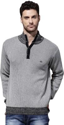 Roadster Self Design Round Neck Casual Men Grey Sweater