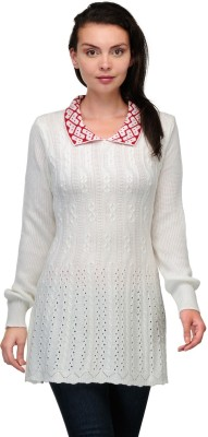 Belle Solid V-neck Casual Women,s White, Red Sweater