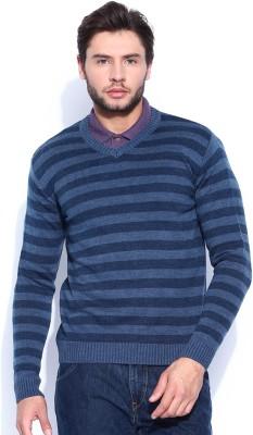 HRX by Hrithik Roshan Self Design V-neck Casual Men's Blue Sweater