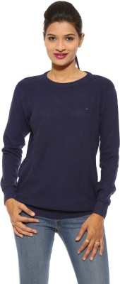 Pepe Solid Round Neck Casual Women's Blue Sweater