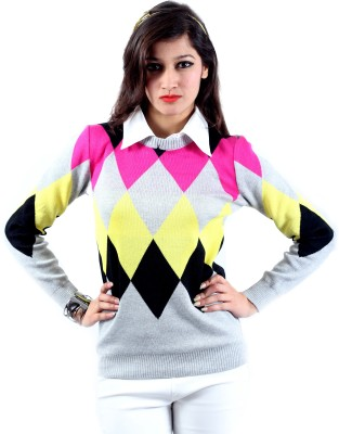 Envy Geometric Print Round Neck Casual Women's Multicolor Sweater