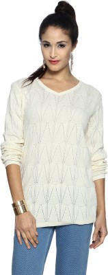 Allen Solly Woven V-neck Casual Women's White Sweater