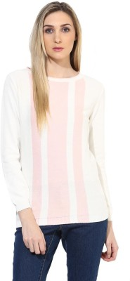 Tshirt Company Striped Round Neck Casual Women's White, Pink Sweater