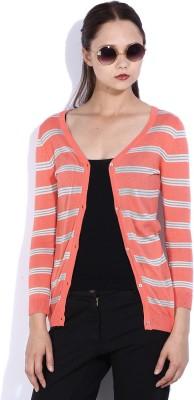 Lee Striped V-neck Casual Women Orange Sweater