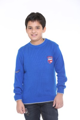 Superkids Solid Round Neck Casual Boy's Light Blue Sweater