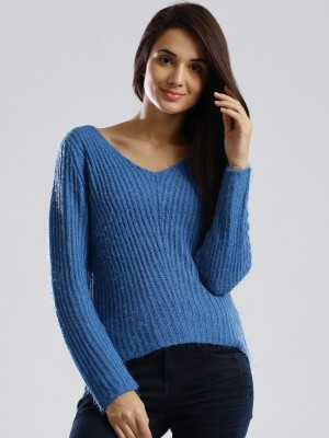 Dressberry Solid V-neck Casual Women's Blue Sweater
